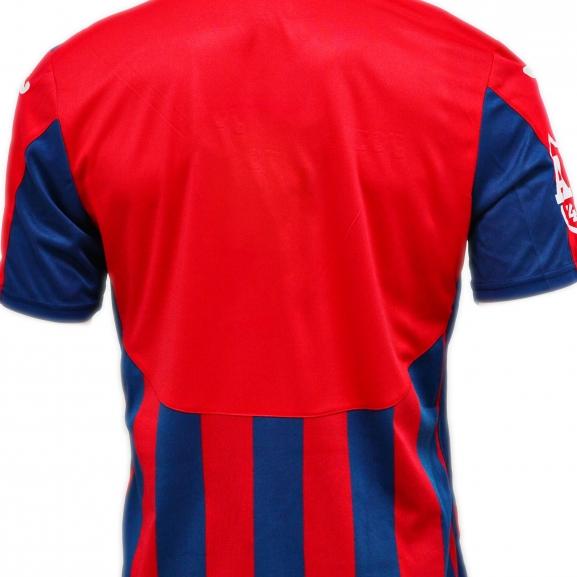 Tricou Oficial de Joc in dungi rosu cu bleumarin ( navy ) produs ''sub licenta'' Steaua Bucuresti,  ( Logo JOMA Brodat )