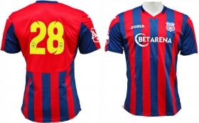 Tricou Oficial de Joc Nr. 28 in dungi rosu cu bleumarin ( navy ) produs ''sub licenta'' Steaua Bucuresti, Logo Oficial 3D ( Logo JOMA Brodat )