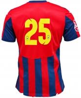 Tricou Oficial de Joc in dungi rosu cu bleumarin ( navy ) personalizat Nr. 25 produs ''sub licenta'' Steaua Bucuresti, Logo Oficial 3D ( Logo JOMA Brodat )