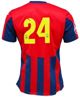Tricou Oficial de Joc in dungi rosu cu bleumarin ( navy ) personalizat Nr. 24 produs ''sub licenta'' Steaua Bucuresti, Logo Oficial 3D ( Logo JOMA Brodat )