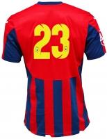 Tricou Oficial de Joc in dungi rosu cu bleumarin ( navy ) personalizat Nr. 23 produs ''sub licenta'' Steaua Bucuresti, Logo Oficial 3D ( Logo JOMA Brodat )