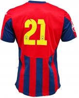 Tricou Oficial de Joc in dungi rosu cu bleumarin ( navy ) personalizat Nr. 21 produs ''sub licenta'' Steaua Bucuresti, Logo Oficial 3D ( Logo JOMA Brodat )
