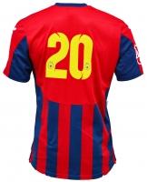 Tricou Oficial de Joc in dungi rosu cu bleumarin ( navy ) personalizat Nr. 20 produs ''sub licenta'' Steaua Bucuresti, Logo Oficial 3D ( Logo JOMA Brodat )
