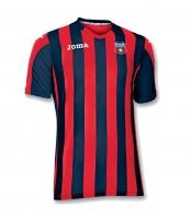 Tricou Juniori Oficial de Joc in dungi rosu cu bleumarin ( navy ) produs ''sub licenta'' Steaua Bucuresti, Logo Oficial  ( Logo JOMA Brodat )