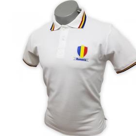 Tricou Copii Tip Polo Alb Romania